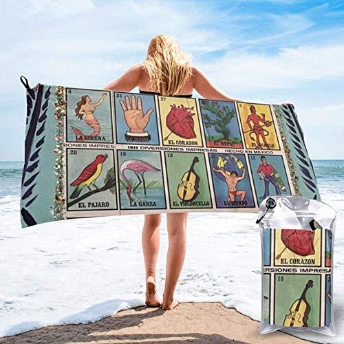 SWKLL Tarjeta de lotería de Bingo Mexicano Naranja Toallas de Microfibra de Viaje Grandes Toallas de Manta de Playa de Secado rápido Súper Absorbente Acampar, Gimnasio, Playa, natación