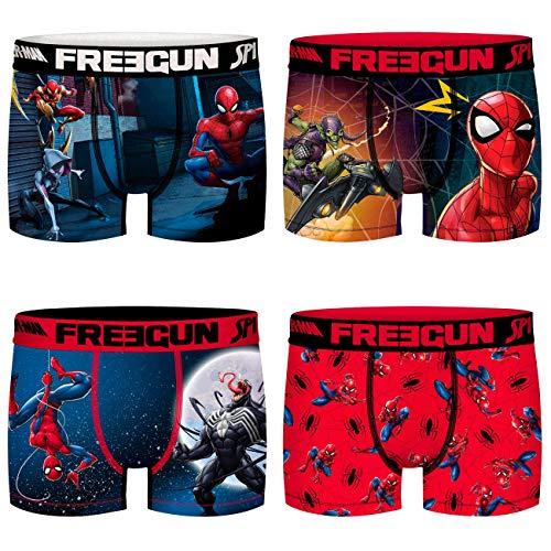FREEGUN Spider-Man Jungen Boxershorts The Amazing Spider-Man Venom Green Goblin Comic Superhelden Druck 4er Pack 6-8 8-10 10-12 12-14 14-16 Jahre, Größe:14-16 Jahre, Farbe:Motivmix