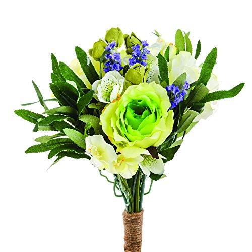 FloristryWarehouse Künstliche Rose Lavendel Freesie Nieswurz gebunden Frühlings Strauß weiß und grün mit Aufhänger 30cm