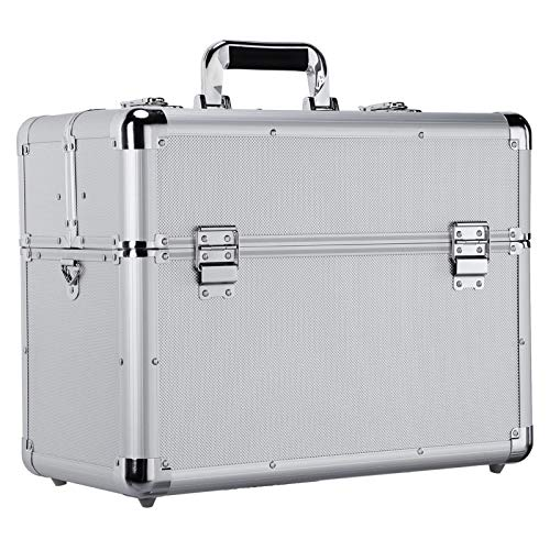 Yaheetech Lockable Aluminium Case Tool Box Storage Case for Electrician, Technician and Engineer Four Tray Travel Case