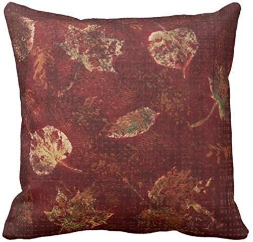saletopk Frühlings-Kissenbezug Grün Burgunder Tiefgold Herbstblätter Schablone Erdiges Tartangelb vom dekorativen quadratischen 18 x 18 Zoll Kissenbezug