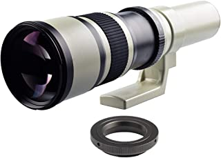 D DOLITY 500mm f/6.3 Manual Telephoto Fixed Lens + T2 Adapter for Canon EOS Digital Camera (White)