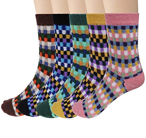 Justay Damen Vintage Style Baumwolle Stricken Wolle warm Winter Fall Crew Socken, gemischte Farbe 4, 5Stück