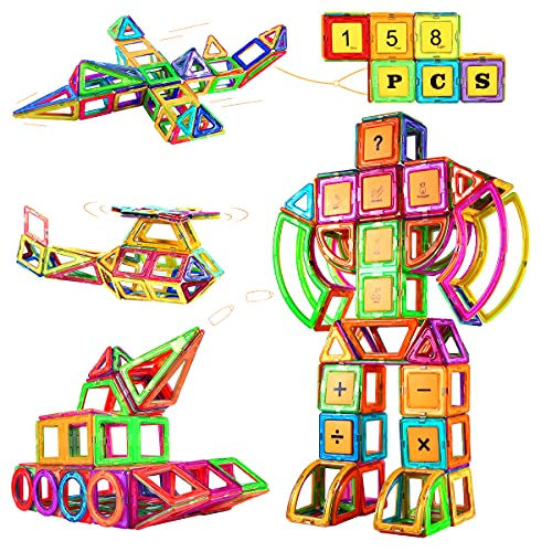 Magnetische Bausteine, 158 Teiliger Pädagogisches STEM Magnetbausteine ab 3 Jahre Magnetspiele Kinderspielzeug, Ideales Spielzeug als Geschenk für Kinder