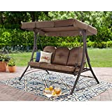 Mainstay Durable Rust-Resistant Powder-Coated Steel Frame 3-Person Canopy Porch Swing Bed, (Brown)