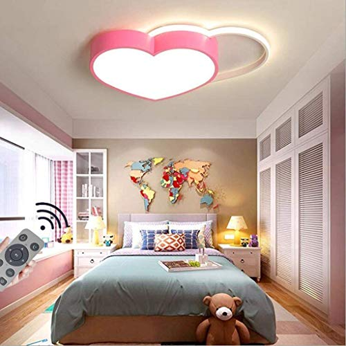 SDDS LED Dimmable Plafonnier Garçons Et Filles Chambre Plafonnier, Moderne Dessin Animé Créatif Rose Love Heart Design Protection des Yeux Lustre, La Enfants Garderie Éclairage,Warm White