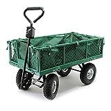 Chariot de jardin à main 300kg avec bâche amovible et grilles remorque de transport...