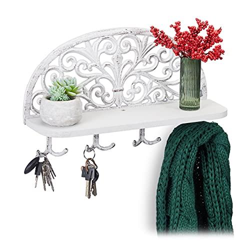 Relaxdays Wandgarderobe mit Ablage, Antik Design, 4 Doppelhaken, Schlüsselbrett, Gusseisen, HBT: 23x39x11,5 cm, weiß, 1 Stück