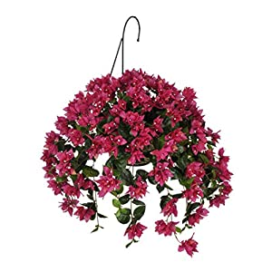House of Silk Flowers Artificial Violet/Fuchsia Bougainvillea in Water Hyacinth Hanging Basket (White Water Hyacinth)