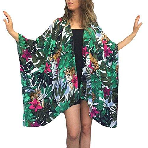 Toamen Tops Femmes Blouse Cardigan Couvrir les blouses Impression de feuille verte Bikini Maillots de bain Beach Maillot de bain Femmes (XL, Vert)