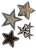 b2see Strass Glitzer Stern Sterne Aufnäher Patches Applikationen mit Strass Pailletten Glitzer Set groß zum aufbügeln 4 Stück Glitzer- Sterne je 8-10 cm