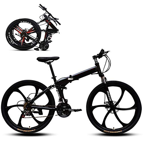 Bici da Mountain Bike Pieghevole, Bici da Strada, 6 girante 21 velocità Bicicletta Ultra-Leggera con Telaio in Acciaio ad Alta Carbonio e forchetta, Freno a Disco, per Uomo, Donna, Città, Resistenza