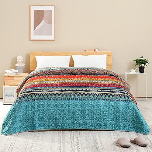 ATsense Tagesdecke 220x240 cm, Blau Boho Gesteppte Decke, Die Bettüberwurf ist eine Mikrofaser Genäht Doppelbett, Bequem, Weich, Glatt & Strapazierfähig, Bettgeeignet (Böhmisch)