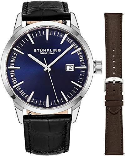 Stuhrling Original - Reloj de pulsera minimalista de cuarzo suizo para hombre, correa de acero inoxidable, fecha de ajuste rápido, 2 correas de cuero fáciles de intercambiar, serie 555AZ
