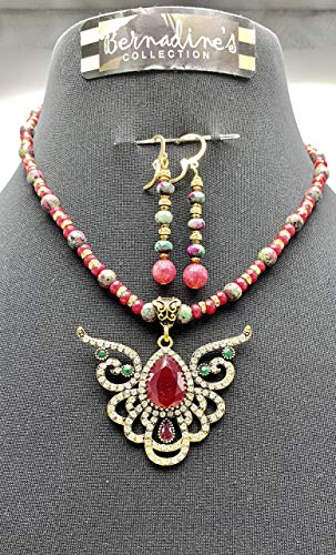RUBY, ZOISITE, CRYSTALS, BEADED GEMSTONES JEWELRY SET WITH PENDANT AND 925 S/S IN EARRING SET, HANDMADE