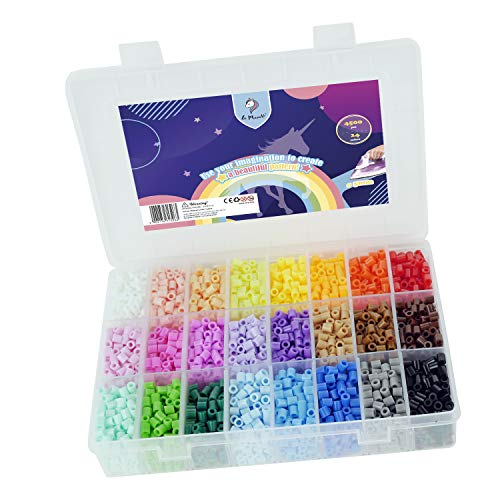 La Manuli Sortiert Fuse Beads Kit - 4500 Stück 5 mm 24 Farben Bügelperlen Set von Hama Beads kompatibel Puzzle Kinder Sicherung Perlen Iron Beads Transparent Plastikbox