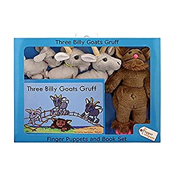 The Puppet Company Traditional Story Sets Three Billy Goats Gruff & Troll Book and Finger Puppets Set
