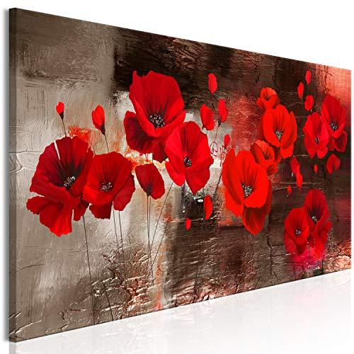 murando Impression sur toile intissee Coquelicot 150x50 cm 1 piece tableau tableaux decoration murale photo image artistique photographie graphique Fleurs Plantes comme peint rouge or b-A-0796-b-a