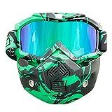 Nawenson Motorrad Gesichtsmaske Abnehmbare Schutzbrille mit Mundfilter für Jethelm für Motocross Ski Snowboard (Grün & UV)