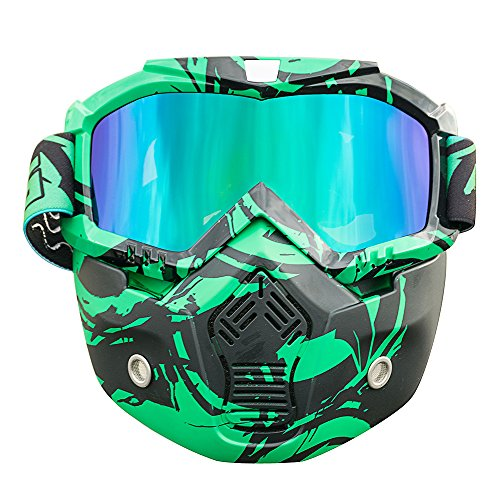 Nawenson Mortorcycle Face Mask Detachable Goggles with Mouth Filter for Open Face Helmet for Motocross Ski Snowboard (Green & UV)