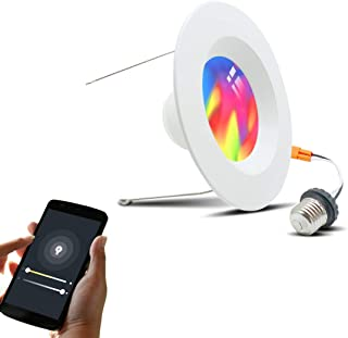Vaticas Smart Recessed Lighting 6 inch Smart WiFi Led Ceiling Downlight Color Changing Retrofit Light Tunable White+RGB 15W(120W Equivalent) Compatible with Alexa Google Assistant No Hub Required