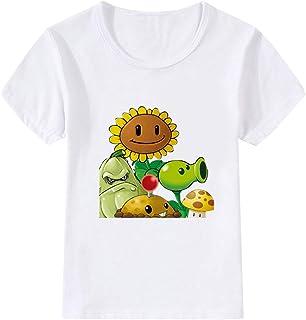 9cf39c1c22 Plants vs. Zombies Sencillas Ocasionales Camisetas para niños y niñas  Verano T-Shirt Cuello