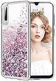 wlooo Glitzer Hülle kompatibel mit Samsung Galaxy A70, Handyhülle Galaxy A70 Glitzer, Galaxy A70 Flüssig Treibsand Glitter Gradient Quicksand Weich TPU Bumper Silikon Schutzhülle Hülle (Roségold)
