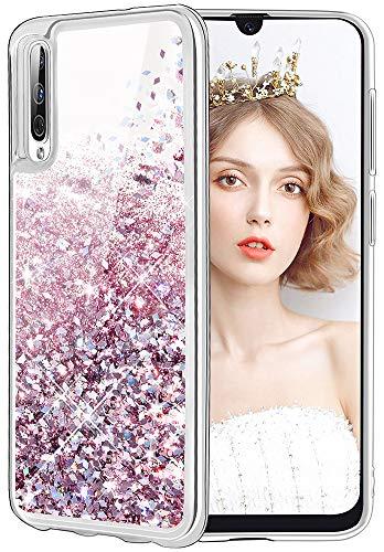 wlooo Cover per Samsung Galaxy A50, Cover Samsung Galaxy A30S, Glitter Bling Liquido Sparkly Luccichio Pendenza TPU Silicone Protettivo Morbido Brillantini Quicksand Custodia Case (Oro Rosa)