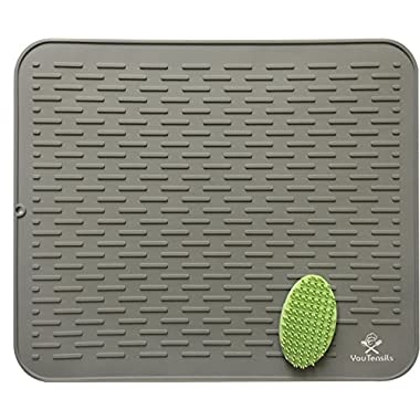 Silicone Dish Drying Mat & Scrubber | Extra Large Kitchen Dish Drainer Mat & Trivet | Dishwasher Safe Draining Pad for Counter | 21  x 18  (XXL, Gray)