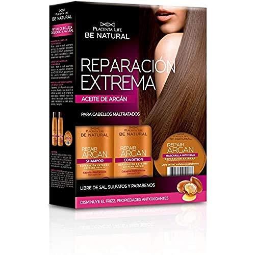 Be Natural Kit de reparación Extrema Repair Argán con Aceite de Argán, Pack de Champú, Acondicionador y Mascarilla, 235ml