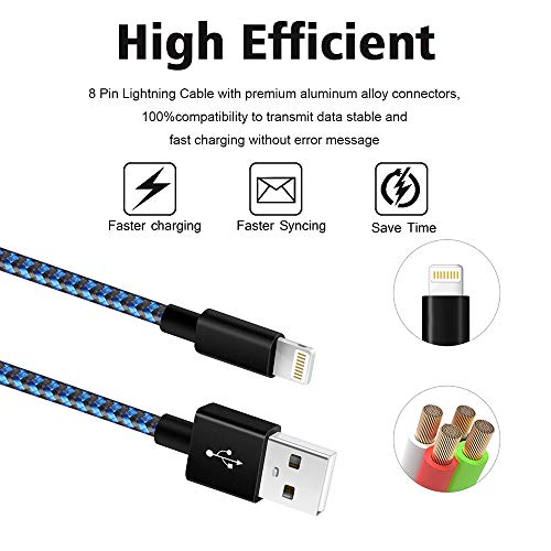 iPhone Charger [MFi Certified] 3Pack 10 FT Lightning Cable Nylon Braided USB Charging Cord Compatible with iPhone 11/XS/XS Max/XR/X/8/8Plus/7/7Plus/6/6S Plus/SE/5/iPad/Nano,BlueBlack