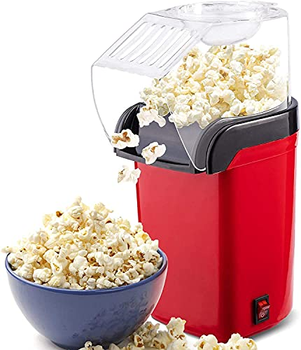 Shopet Hot Air Popcorn Popper Machine,1200W Home Electric Popcorn Maker with Measuring Cup, 3 Min Fast Popping BPA Free, No Oil Needed, Great Air Popcorn for Home