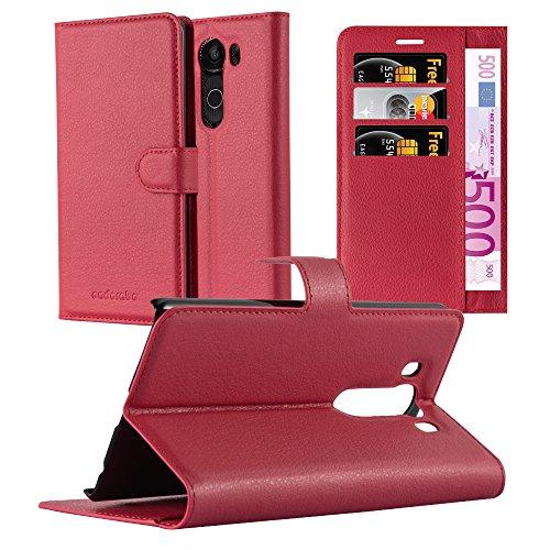 Cadorabo Hülle für LG V10 - Hülle in Karmin ROT – Handyhülle mit Kartenfach & Standfunktion - Hülle Cover Schutzhülle Etui Tasche Book Klapp Style