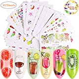 Nail Art Stickers for Women 40 Sheets Water Slide Nail Tattoo Decals Fruits Cakes Drinks Ice Cream Tips Cartoon Nail Art Stickers for Manicure Wraps Decorations of Fingernails and Toenails
