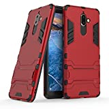 Nokia 7 plus case,Stylish cover GOGME [Tough Armor Series]Rugged TPU/PC Hybrid Armor, Anti-Scratch PC back panel + Shockproof TPU bumper+Foldable holder,Ultra-thin phone shell for Nokia 7 plus. red