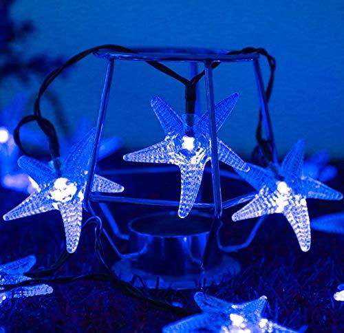 Solar 8 funciones azul estrella de mar luz exterior impermeable jardín decorativo cadena de luz 100LED