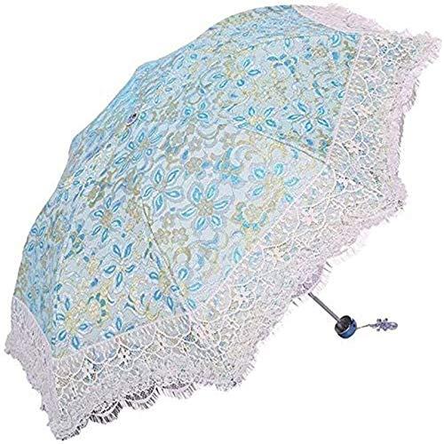 MJMJ sombrilla Paraguas Sol Señoras Bordado Paraguas Ligero A Prueba De Viento Paraguas Multicolor Opcional Paraguas Al Aire Libre Anti-UV Shade Alto Paraguas Soleado(Color:D)