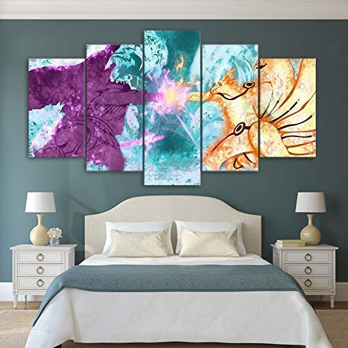 Fbewan 5 Stück Wandbilder Kunstwerk Naruto Charakter Bild Leinwanddrucke Die Anime Poster Bilder Für Home Modern Dekoration Leinwände Print Decor(Kein Rahmen),F,30×50Cm×2+30×70Cm×2+30×80Cm×1