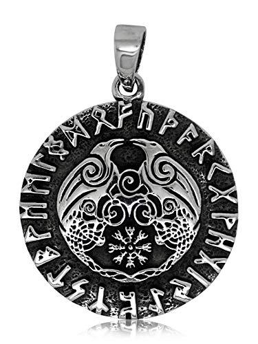 Talismanic Silver of London 925 Plata esterlina sólida Odin Raven Dios con runas 2 Cuervos Cuervo de Awe Colgante
