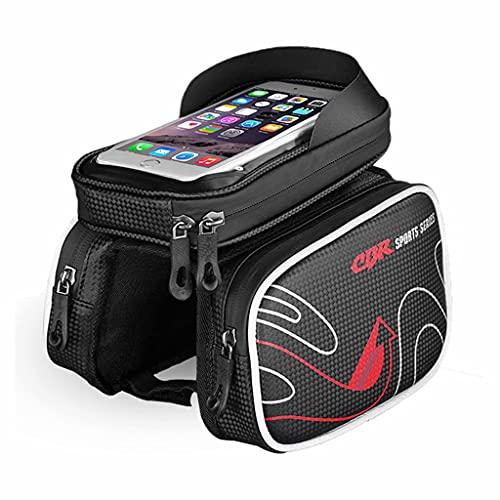 YZX Bolsa Bicicleta, Bicicleta de montaña/Carretera al Aire Libre Bolsa de sillín Frontal con sombreado Impermeable, Equipo para Montar con Pantalla táctil para teléfono móvil,Rojo