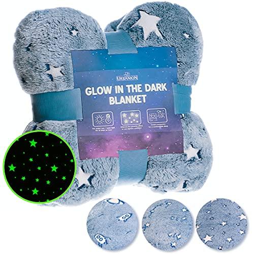 "Glow in The Dark Blanket – Blue Star Fleece Throw Blanket 60""x50"" Gifts for Birthday Christmas Thanksgiving, Unique Gifts for Toddler Teens Kids Girls Boys Women Best Friend"