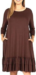 Women Pure Color Plus Size Baggy Crew Neck Flounce Evening Dress