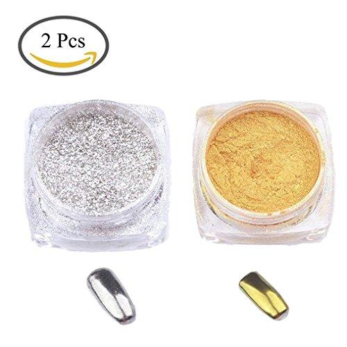 LAAT 2PCS Pigmento del Brillo de Arte de Clavo Efecto para Maquillaje Arte de Uñas Pintura del Arte de DIY Plata y Oro Efecto Espejo Navidad