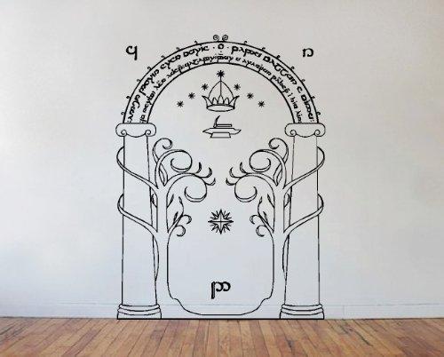 Adesivo da parete, motivo Signore degli anelli: porta delle miniere di Moria Black