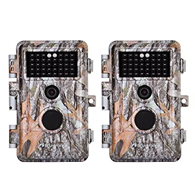 2-Pack Game Trail Deer Cameras 20MP 1080P H.264 MP4 Video No Glow Wildlife Hunting Cams with Night Vision Motion Activated Waterproof & Password Protected Photo & Video Model Time Lapse & Time Stamp