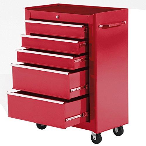 Carro Caja de Herramientas Taller Movil 5 Cajones 4 Ruedas Cerradura Color Rojo