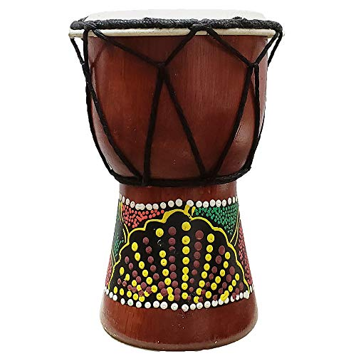 Djembe Drum Hand Painted Multicolored Dot Aborigine With Unique Random Patterns Bongo African Inspired Music Beginners For Kids Adults Awesome Gifting Idea. Abstract Wild Animals (6 Inch, Abstract)