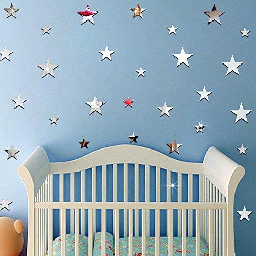 ufengke 20-Pcs 3D Star Diy Mirror Effect Wall Decals,Children's Room Nursery Fashion Design Art Decals Home Decoration