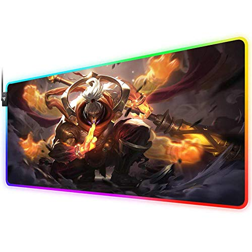 RGB Gaming-Mauspad für League of Legends, LED, weiches extra erweitertes großes Mauspad, rutschfeste Gummiunterseite, Computer-Tastatur-Mauspad 80 x 30 cm (God Staff Jax)