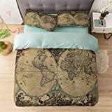 Aishare Store Duvet Cover Set Californai King, Map of Ancient World Continents Antiquity Stained Vintage Hi, (1 Duvet Cover with Zipper Closure & 2 Pillow Shams), Ultra-Soft & Hypoallergenic